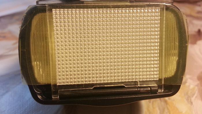 Gel puesto con el difusor del flash extraído.