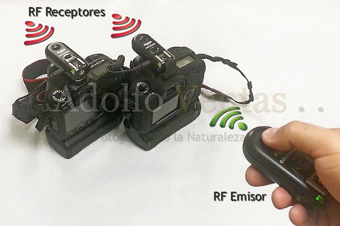 Método de disparo de dos cámaras a través de un solo mando en mano.