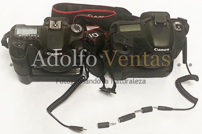 Sistema terminado para disparar 2 cámaras simultáneas por cable.