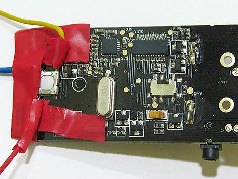 Protección de la soldadura realizada en el botón de disparo del mando Yongnuo RF603C