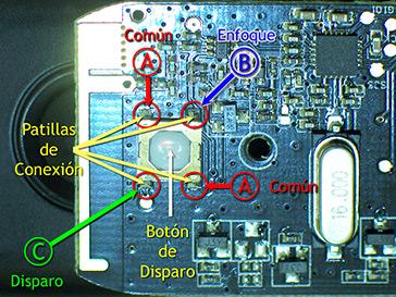 Detalle del aspecto de la placa, reverso, del mando Yongnuo RF603C