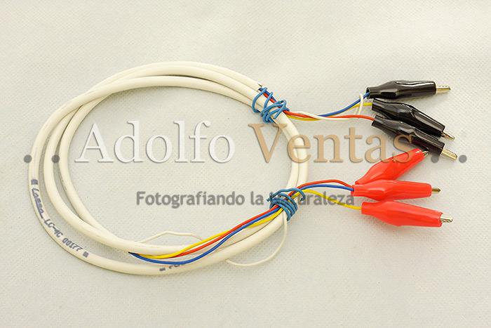 Cable con pinzas para comprobación de conexiones.