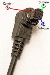 Conector Canon N3 del cable disparador.